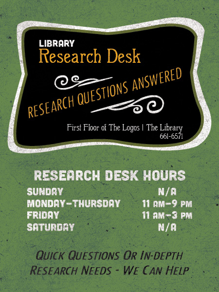 Research Desk Hours - Spring 2017 (SM)