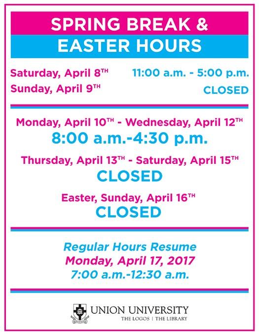 thumbnail_Spring Break & Easter Hours 2017 (SM)